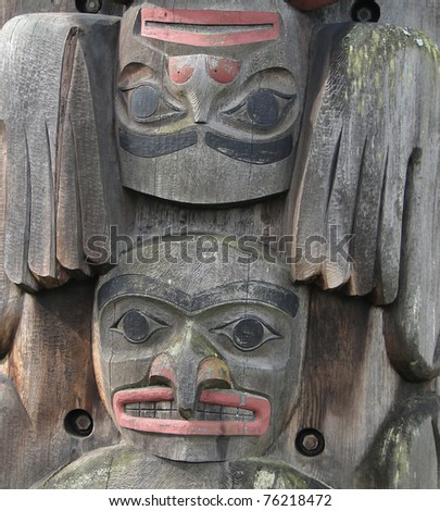 Detail, Totem pole carved from cedar, Thunderbird Park, Victoria, BC, Canada