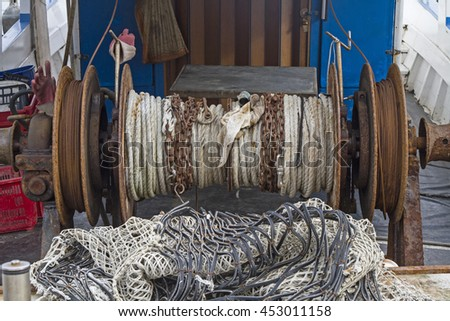 Detail view of a fishing boat in the port of Istrian town Novigrad - stock photo