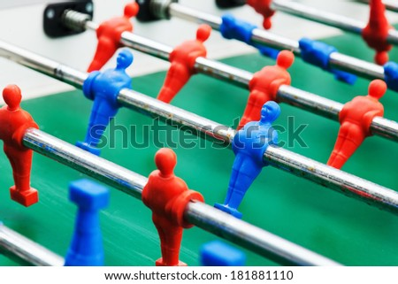 detail view of a foosball table - stock photo