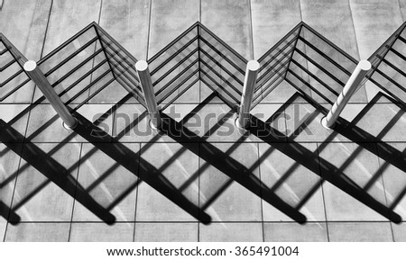 Detail view of Abstract Shadow Patterns on side of a building - stock photo