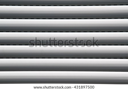 Detail view of closed window shutters - stock photo
