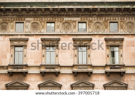 Detail view of historic architecture in the centre of Milan city, Italy