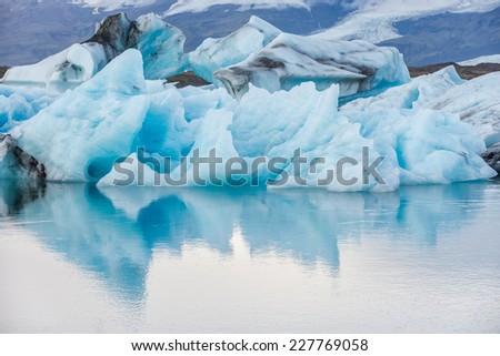 Detail view of iceberg in ice lagoon - Jokulsarlon, Iceland. - stock photo