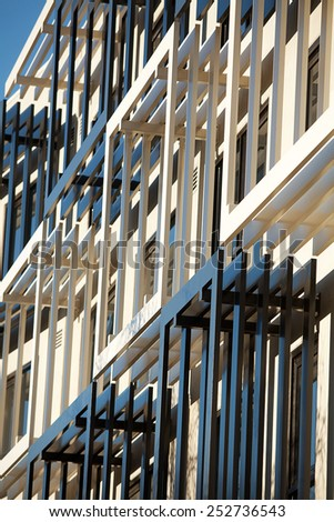 Detail view of modern city architecture with interesting patterns and shapes