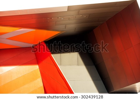 Detail view of modern city architecture with interesting patterns and shapes and colours