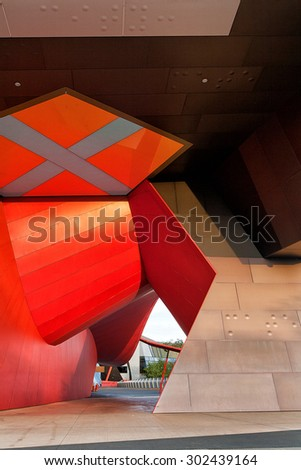 Detail view of modern city architecture with interesting patterns and shapes and colours - stock photo