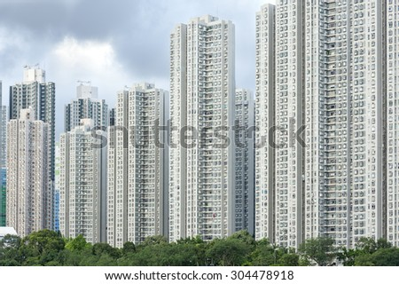 Detail view of residential buiilding in Hong Kong - stock photo