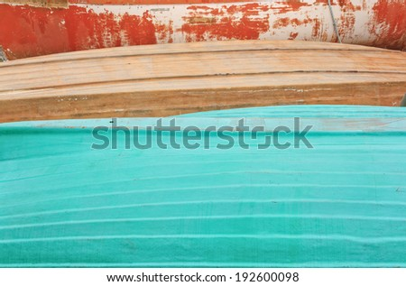 Detail view of small boat hulls - stock photo