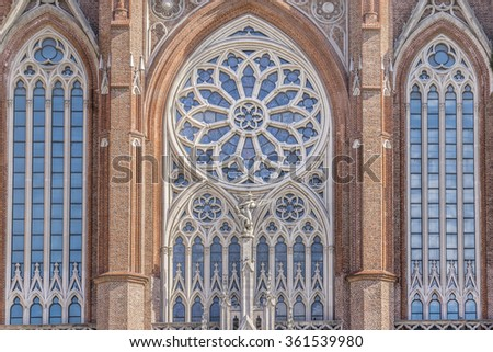 Detail view of the main catholic church in the city of La Plata, capital of the province of Buenos Aires in Argentina, and one of the largest in Latin America. - stock photo