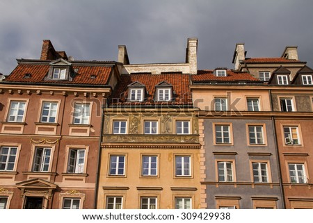 Detail view of Warsaw, Poland historic main square, old town. - stock photo