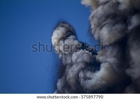 Detail Volcanic plume ash on Mount Etna - stock photo