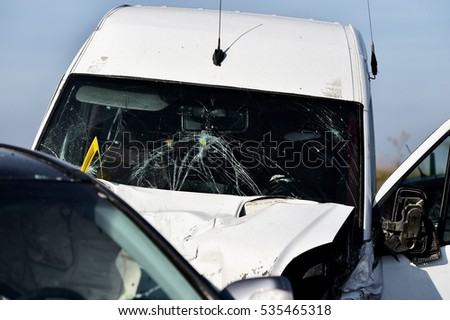 Detail with damage automobile after a car crash accident