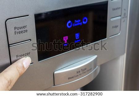 Detail with refrigerator freezer of kitchen appliance - stock photo
