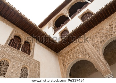 Detailed architecture of the Alhambra palace in Granada Spain - stock photo