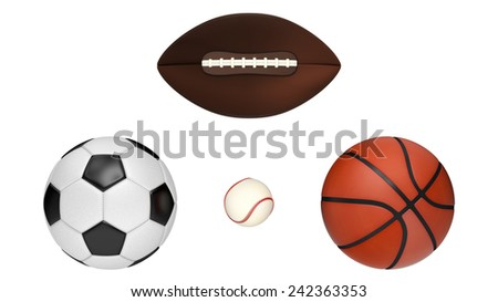 Detailed Baseball, Basketball, football, and Soccer ball isolated on a white background.