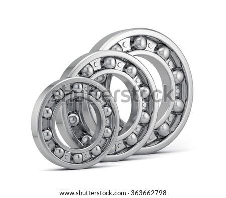 Detailed bearings set production isolated on white background - stock photo