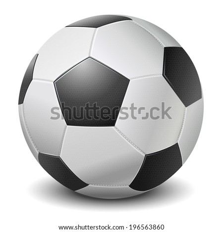 Detailed black fringe football ball isolated on white background. Raster copy