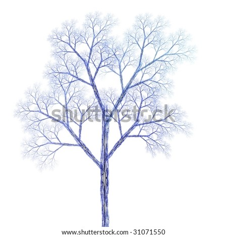 Detailed blue and purple fractal tree on white  background - stock photo
