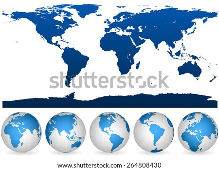 Detailed blue and white world outline and globes isolated on white.  - stock photo
