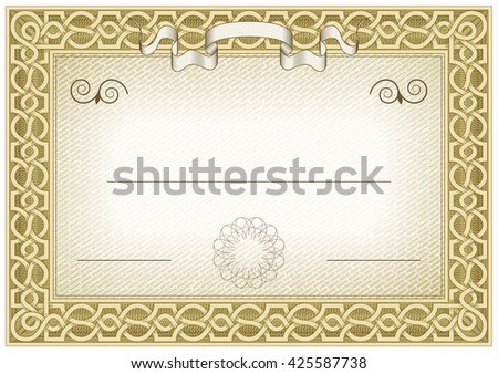 Detailed brown vintage certificate with flags and flourishes