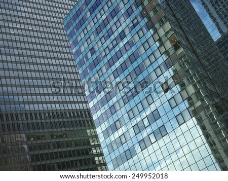 detailed close-up of a skyscraper facade in manhattan, new york city, usa - stock photo