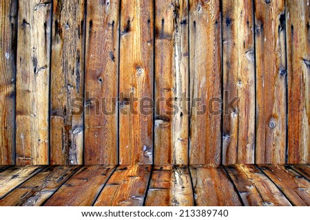 Detailed closeup of old wooden fence - stock photo