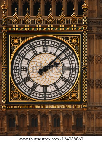 Detailed closeup of the clockface of Big Ben in London. - stock photo