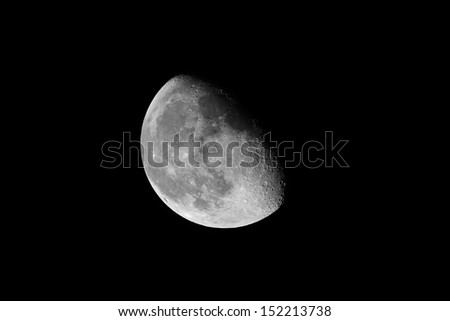 Detailed closeup of waning gibbous Moon showing craters - stock photo