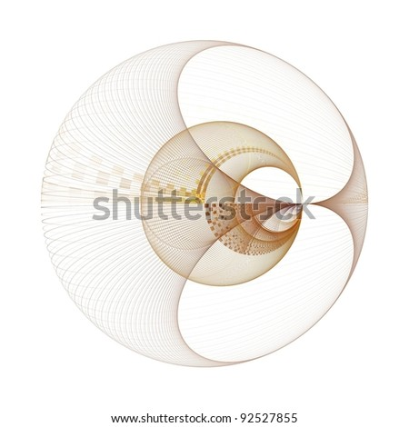 Detailed copper and gold string bead / bauble on white background - stock photo
