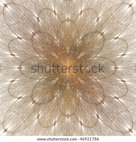 Detailed copper / gold abstract flower / sun on white background