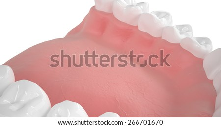 Detailed 3d illustration of a human mouth with teeth and gums on a white background