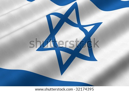 Detailed 3d rendering closeup of the flag of Israel.  Flag has a detailed realistic fabric texture. - stock photo