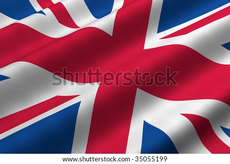 Detailed 3d rendering closeup of the flag of the United Kingdom.  Flag has a detailed realistic fabric texture. - stock photo