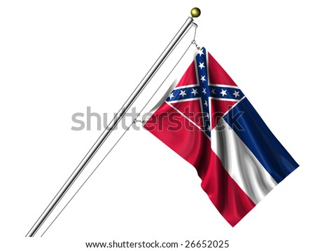 Detailed 3d rendering of the flag of the US State of Mississippi hanging on a flag pole isolated on a white background.  Flag has a fabric texture and a clipping path is included. - stock photo