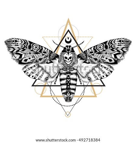 Detailed Dead head MOTH in ethnic (boho) style. Raster.