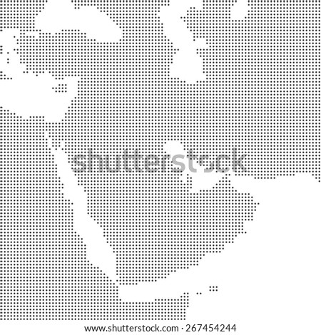 Detailed dotted map of Middle East and Arabian peninsula - stock photo