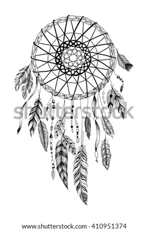 "Detailed dreamcatcher with ""sun"" ornament. Raster."