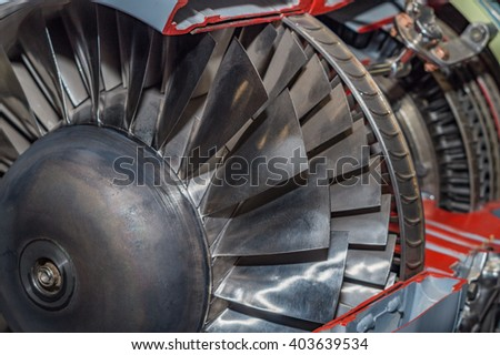 Detailed exposure of a turbo jet engine. - stock photo