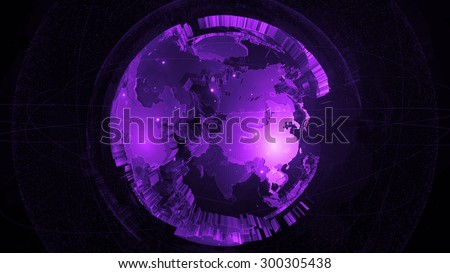 detailed globe 3d render. two globes one inside another with rich details and surrounded elements.