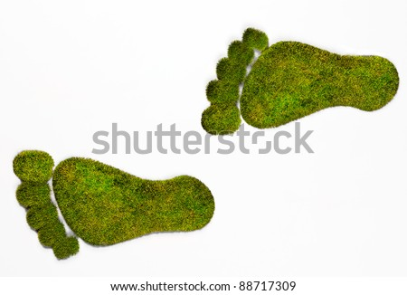 Detailed Green Grass Eco footprints illustrating the human footprint on our natural environment. (Please see my portfolio for additional images) - stock photo