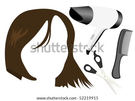 Detailed hair style objects and a woman face - stock photo