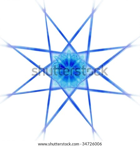 Detailed ice blue / navy eight sided star on white background