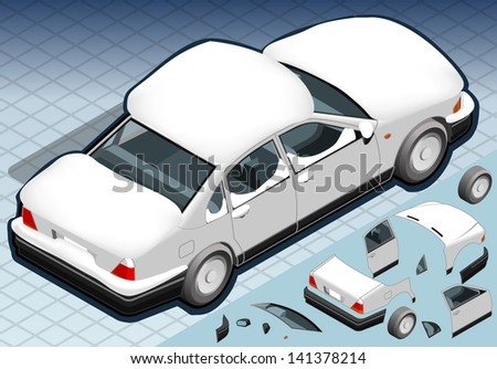 Detailed illustration of a four Isometric Snow Capped White Car in Rear View