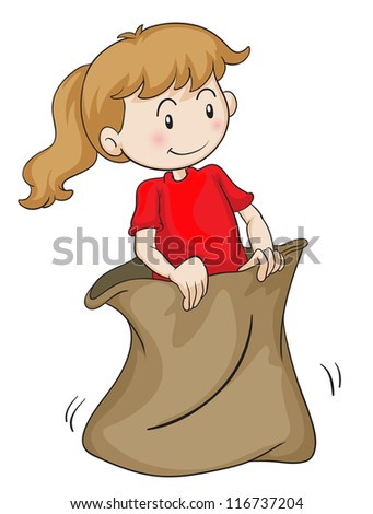 detailed illustration of a girl in a sack on white - stock photo