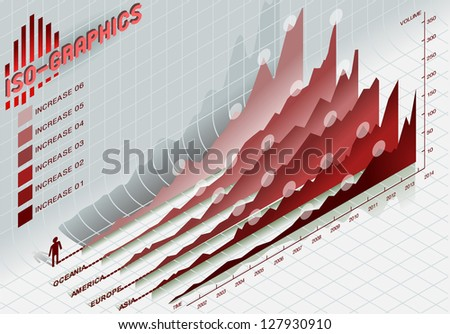 Detailed illustration of a infographic set elements in red - stock photo