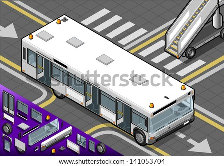 Detailed illustration of a Isometric Airport Bus with Open Doors in Front View