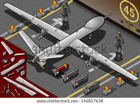 Detailed illustration of a Isometric Drone Airplane Landed in Rear View with Bombs and Guards - stock photo