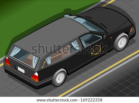 Detailed illustration of a Isometric Hearse in Rear View - stock photo