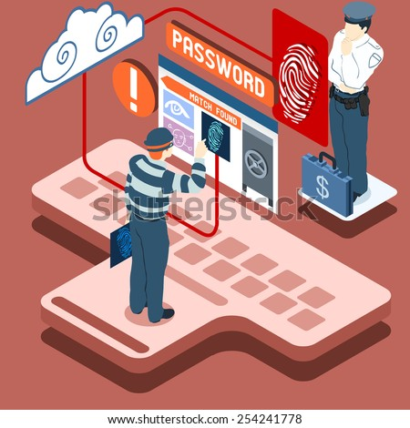 Detailed illustration of a Isometric Infographic Thief Biometric Recognition - Access Denied  - stock photo