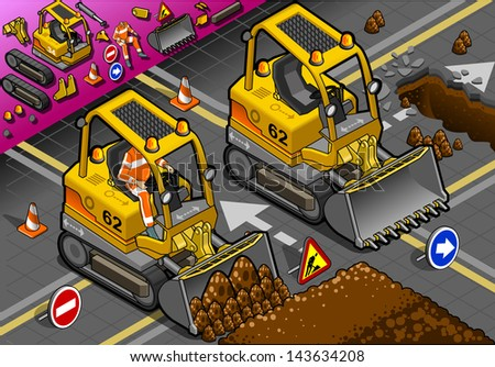 detailed illustration of a isometric mini excavator in front view - stock photo